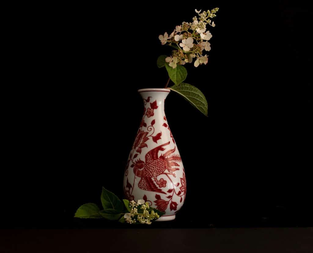 white and red floral vase with white flowers